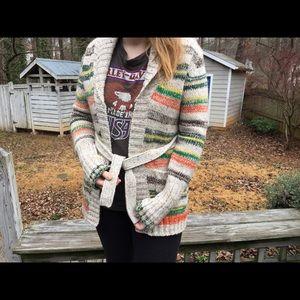 Vintage 70's Boho Marled Striped Wrap Cardigan 🌿